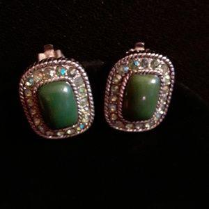 Vintage Jade & RS Earrings